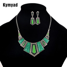 Kymyad Jewelry Sets For Women Artifical Stone Enamel Necklace Earrings Sets Four Color Statement Necklace Fashion Jewellery Set(China)