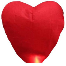 10 pcs/lot  Heart Sky Lanterns China Kongming Flying Lamp Wedding Party Decoration Sky Lantern /Wishing Heart Sky Lantern
