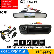 handle Trunk Light Night Vision Reversing CCD Car RearView Camera+4.3 inch Car Reverse Mirror Monitor For Ford Focus Mondeo Kuga(China)
