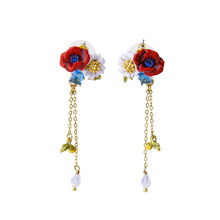 France Les Nereides Enamel glazed gold Pleated Gem Red Flower Nature Women Fashion Popular tassel Earring Stud(China)