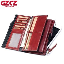 GZCZ Genuine Leather Women Wallet Female zipper clamp for money Long Walet Coin Purse Small Vallet Portomonee Clutch Card Holder(China)
