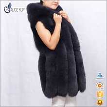 Made in china OEM Service high quality women hooded fox fur vest for sale