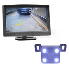 DIYKIT 5 inch LCD Display Rear View Car Monitor + LED Color Night Vision Car Camera Wire Parking Security System Kit