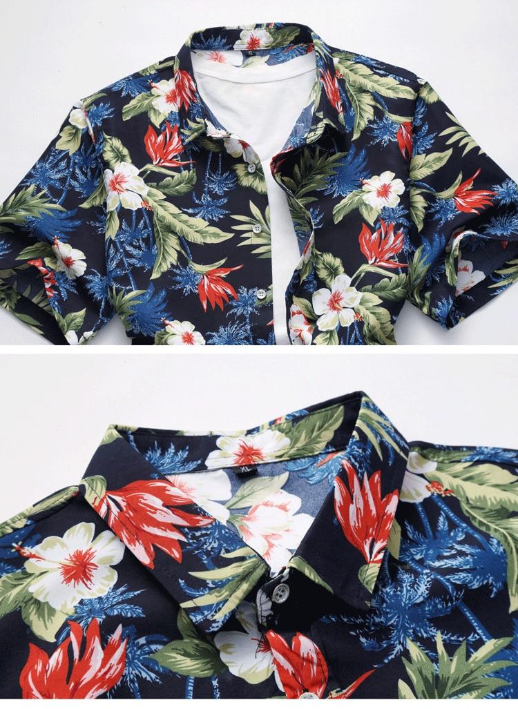 2018 Short Sleeve Mens Hawaiian Shirt Male Casual Camisa Masculina Flower Print Beach Summer Shirts Brand Clothing Men Plue Size 27