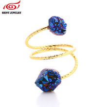 New!! Natural Double Stone Druzy Ring Jewelry 24k Gold Plating Wire Wrapped Sparkly AB Titanium Druzy Agates Ring for Women Men(China)