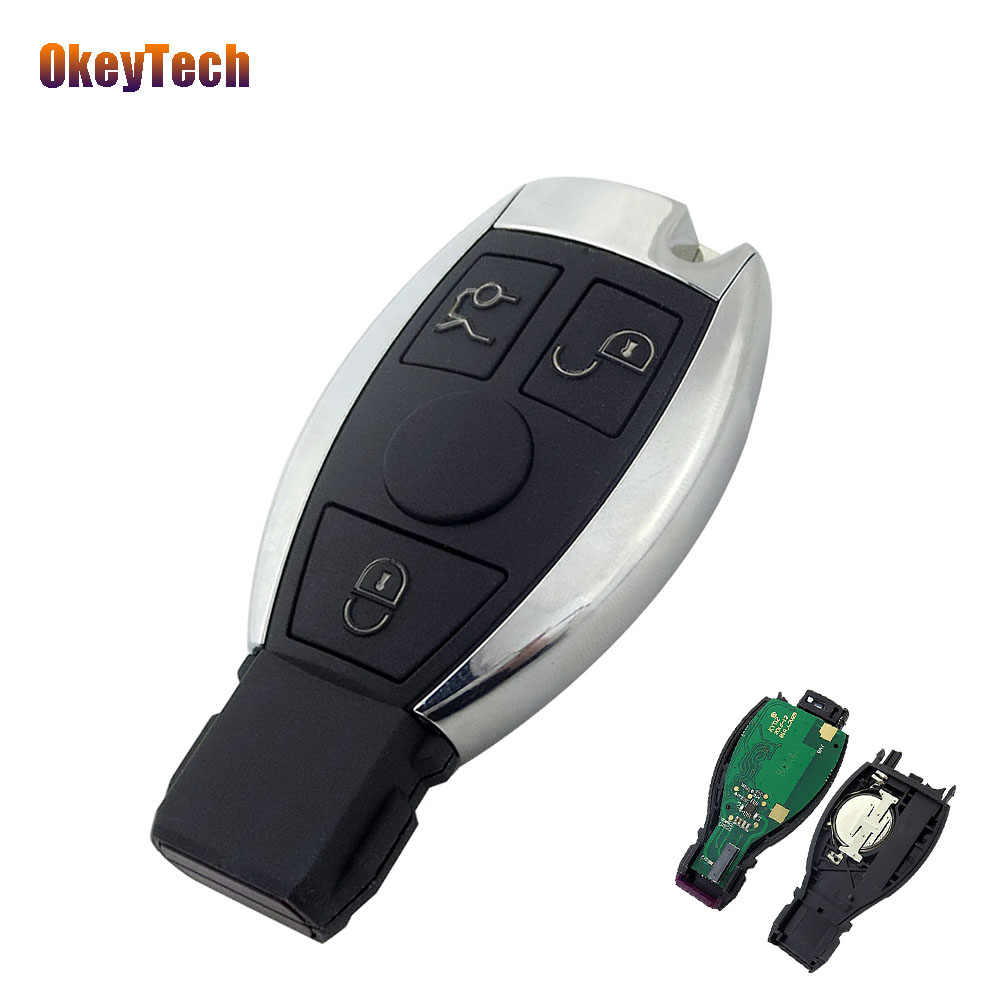 OkeyTech 433MHz Smart Remote Control Replacement Car Key Shell Fob Uncut Blade 3 Button Mercedes Benz Year 2000+ BGA D25