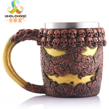 450ml Double Wall Resin Stainless Steel Skull Drinking Mug Personalized 3D Monster Metal Coffee