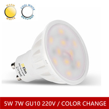 LED GU10 spotlight spot lamp dimmable frosted cover 5W 7W 220v 3 color change Long Life 50w Replacement Energy Saving Lamp(China)