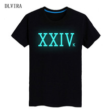 DLVIRA 2017 New S-XXXL XXIVK bruno mars Letters Print Women tshirt Cotton Casual Funny t shirt Luminous T-shirt