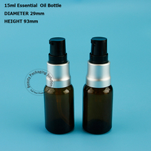 High Quality 15ml 10pcs/Lot Amber Glass Lotion Pump Spray Bottles 1/2OZ Cream Jars Split Charging Jars Empty Cosmetic Containers(China)