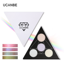 UCANBE Brand Triangle Highlighter Powder Makeup Palette Glow Kit Highlighting Aurora Bronzer Shimmer Face Brighten Eyeshadow Set(China)