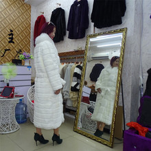 120cm pure white fox fur coat Russian Sable Fur/Full Length rex rabbit fur outwear Real Parka with fur belt(China)