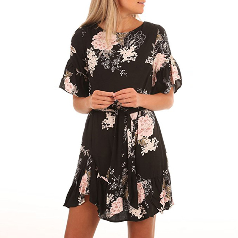 Lossky Summer Women Beach Dress 2018 Bohemian Floral Print Boho Dress O-Neck Short Sleeve Ruffle Mini Chiffon Dress With Belt 13