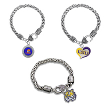 Skyrim Sports Style rhodium plated round crystals LSU Tigers college football logo bracelet for women/man Best Gift For Fans