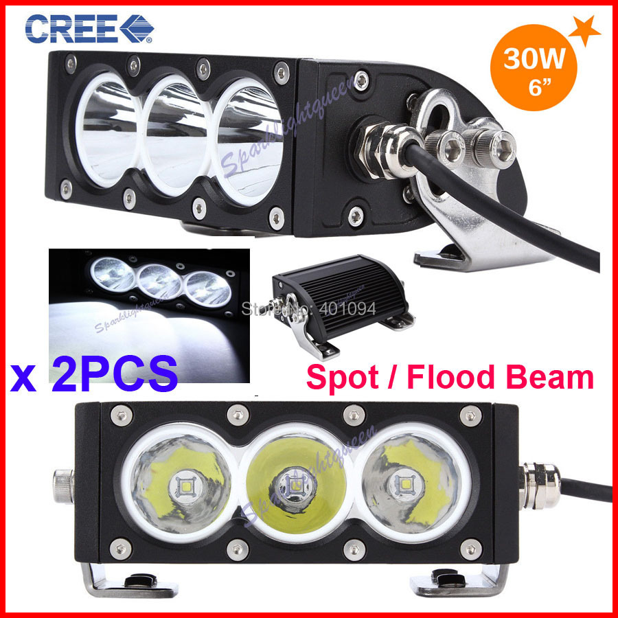 2PCS 6 30W CRE 3LED*10W Driving Work Light Bar Clear Lens White Offroad SUV ATV 4WD 4x4 Spot / Flood Beam 3000lm 9-32V IP67<br><br>Aliexpress