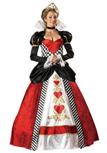 Adult Women Deluxe Queen of Hearts Costume Halloween Cosplay Outfit Party Gown(China)