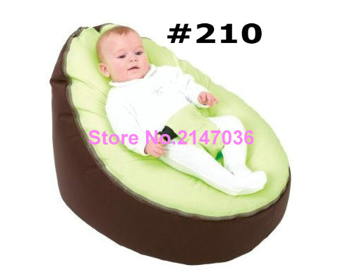 Canvas Green seat Dark brown base Baby infant Bean Bag Snuggle Bed Portable Seat Without Filling<br>