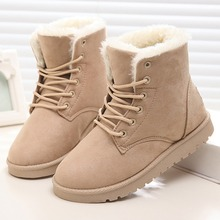 Warm Women Boots Lace Up Women Snow Boots 2017 Plush Ankle Winter Boots Women Shoes(China)