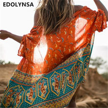 New Arrivals Beach Cover up Chiffon Floral Swimwear Robe de Plage Swimsuit Cover ups Ethnic Beachwear Saida de Praia #Q208(China)