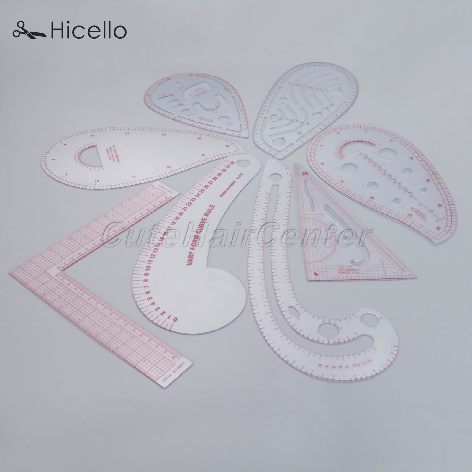 Hicello Sewing Ruler Drawing-Craft-Tool Triangle-Shape Tailor-Curve Plastic Cutting-Clothing title=