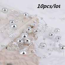 Free Shipping 5 pcs/lot Fishing Line Artificial Pearls Beads Chain Garland Flowers Wedding Party Decoration Products Supply