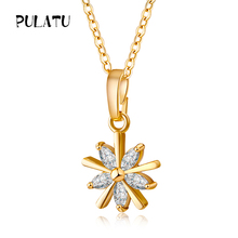 Buy PULATU gold Pendant Necklace Zirconia Flower Star 10*10mm Luxury Jewelry Trendy Female Fashion Necklaces Chokers Link Chain for $2.88 in AliExpress store