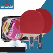 BOER 2pcs table tennis racket long short handle double face with 3pcs Balls high quality rubber ping pong paddle racquet sports