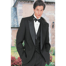 Black Groom Tuxedos Peak Lapel One Button Wedding Groomsman Suit Evening Tuxedos Men's Formal Suit (Jacket+Pants+Vest)
