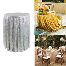 1.2m Sequin Tablecloth Round Designed Gold Silver Champagne Table Clothes Festival Banquet Party Wedding Home Decoration(China)