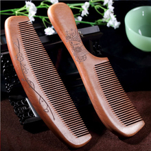 Handmade Hairbrush Professional Sandalwood Comb Natural Peach Combs Hair Brush Wide Tooth No-static Massage Wooden Hair Comb(China)