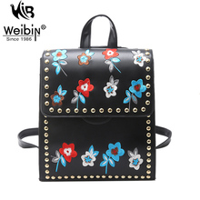 Weibin Flowers PU Women Casual Daypacks Small Backpacks For Teenage Girls School Backpack Embroidery Fashion Shoulder Street Bag