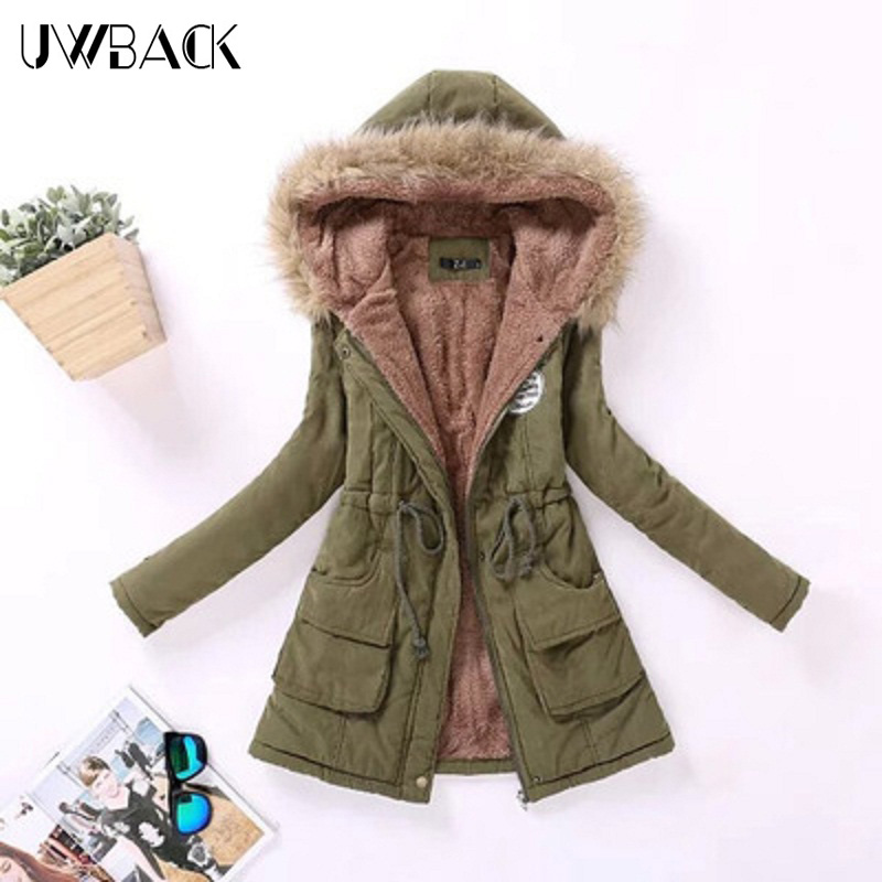 Uwback 2017 New Brand Winter Basic Coat Women Army Green Cotton Wadded Jacket Femme Long Parka Mujer Faux Fur Collar OB039Одежда и ак�е��уары<br><br><br>Aliexpress