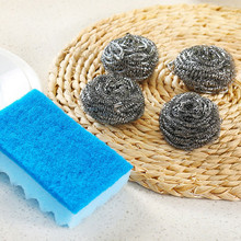 5Pcs Set kitchen Steel Wire Brush Stainless Steel Sponge Wire Ball kitchen Scourer Brush Pot Dish Bowl Brush Household Cleaning(China)