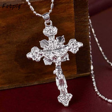 2pcs Cross Pendant New Fashion Jewelry Gift Wholesale Trendy Silver Plated Jesus Pendant Charm For Women/ Men