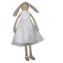 74cm White dress doll lovely rabbit doll long ear rabbit baby plush rabbit toy Easter Bunny doll(China)