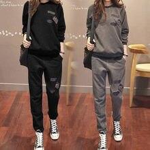 S-6XL Femmes Survêtements sportswear Printemps 2018 Automne Hiver Casual  Plus De Velours Épais Sweat + Pantalon Ensembles Femell. 2a688376ff5