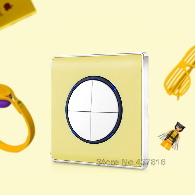 High Quality Colorful Yellow Click Switch,4Gang 1Way, Push Button Switch Pressure Switch Light Wall Switch LED Nightlight<br><br>Aliexpress