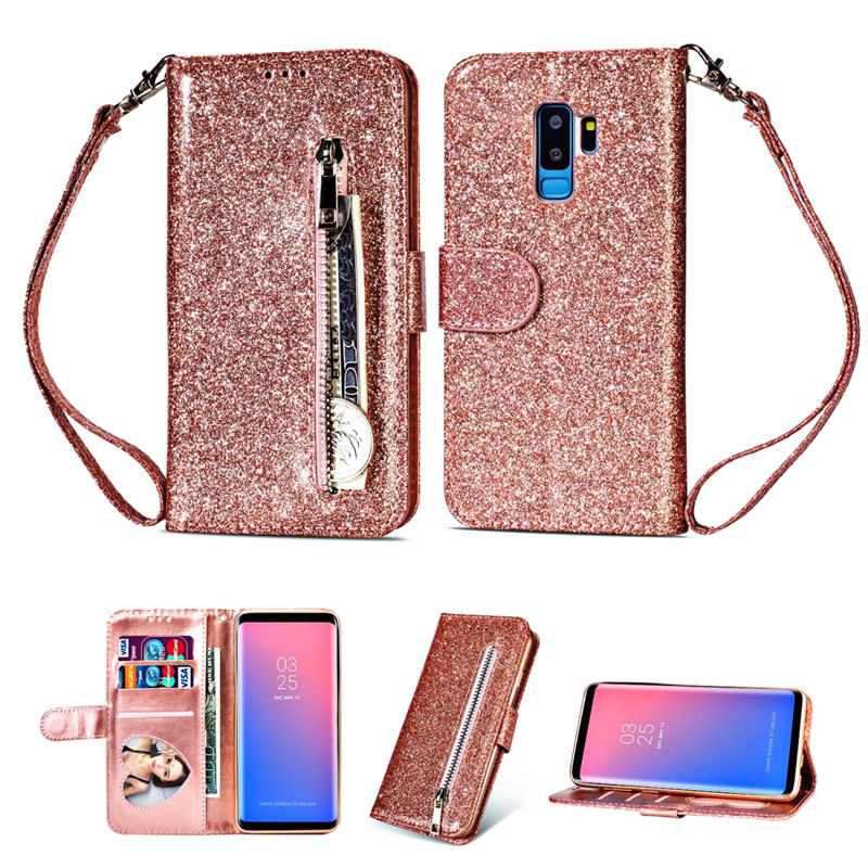 Zipper Wallet PU Leather Stand Silicone Case For Samsung Galaxy S6 S7 Edge S8 S9 Plus Note 8 9 Glitter With Card Slot Flip Cove(China)