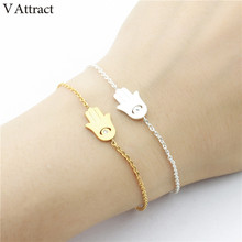 V Attract Religion Jewelry Vintage Crystal Evil Eye Bracelets Women Men Stainless Steel Chain CZ Hamsa Hand Pulseira Masculina(China)