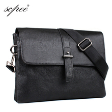SCPEE new men business casual bag messenger bag leather briefcase promotional price free shipping(China)