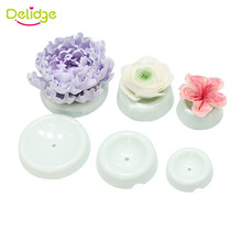 Delidge 6pcs/set Plastic Cake Flower Drying Mold 3D Button Shape Gum Paste Fondant Cake Decorating Flower Forming Drying Moulds(China)