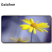 Colohas Yellow Daisy Flower Pattern Large Rubber + Cloth Gaming Mouse Pad Unique Mouse Mat Non-slip Soft Locking Edge Mice Pad(China)