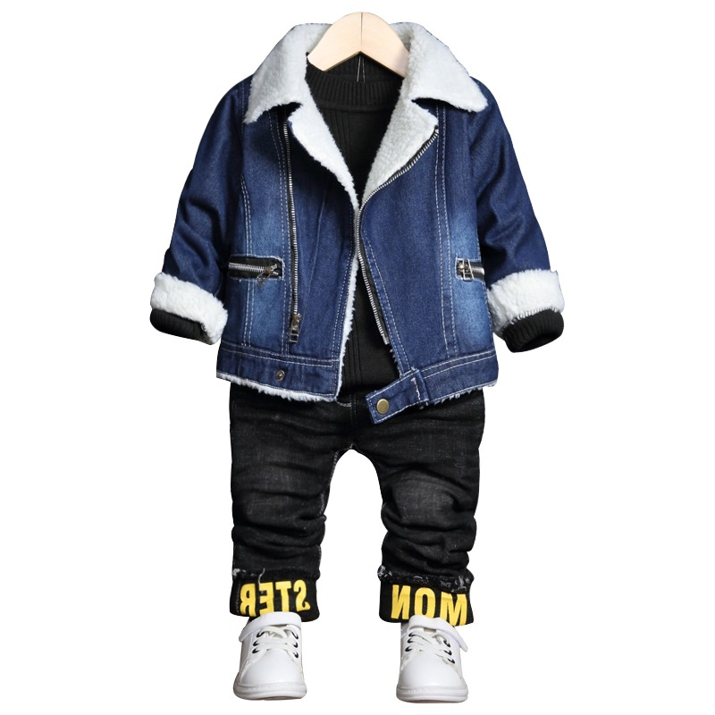Children Cowboy Velvet Jacket 2017 2-4 Years Old Baby Girl Clothes Denim Thick Jackets for Girls Jeans Outwear Coat<br>