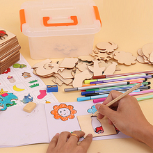 Kids Animals Painting Wooden Drawing Book for Kids Coloring Book Children Early Educational Doodle Drawing Toy with Box Packing(China)