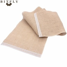 2017 Jute Lace Burlap Hessian Table Runner Vintage Event Party Supplies Lace Table Runner for Wedding Accessories Home Textile
