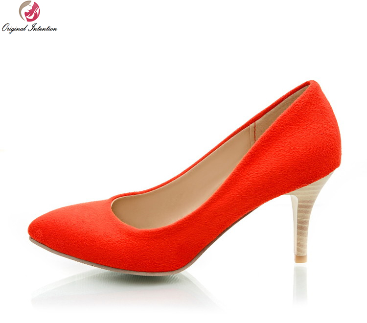 Original Intention Women Pumps Pointed Toe Spike Heels Pumps Black Beige Blue Red High-quality Shoes Woman US Size 4-10.5<br>
