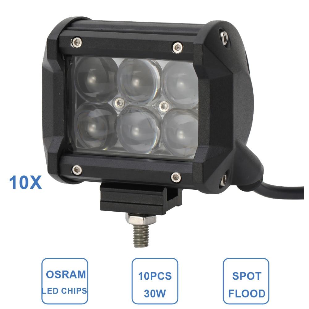 10pcs 30W LED Work Light Car Motorcycle Auto 4WD 4X4 ATV UTE SUV Wagon Pickup 12V 24V Off Road Headlight Hunting Van Camper Lamp<br><br>Aliexpress