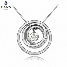 DAN'S ELEMENT 8 Colors Real Austrian Crystals  Concentric circles pendant Rhinestone crystal necklace round #86020