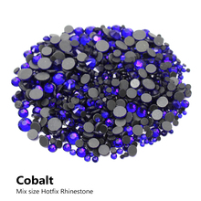 DMC Cobalt Hotfix Rhinestone Mixed size 2/3/4/5/6mm 2000Pcs/lot Flatback stones for rhinestone motifs free shipping