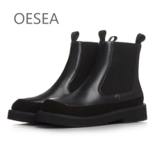 Women boots tide 2016 autumn and winter fashion spell color genuine leather breathable round toe women boots